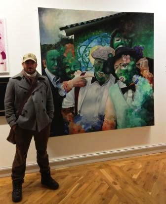 Glenn Davison with his 'Gherkins' Painting